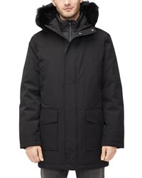 Ugg Butte Fur Trim Hooded Parka Coat Black
