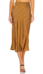 C Meo Collective No Time Skirt In Brown. Copper Check