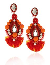 Ranjana Khan Red Drop Beaded Clip On Earrings Pink