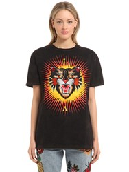 Gucci Angry Cat Printed Cotton Jersey T Shirt