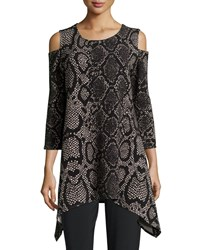 Caroline Rose Rattle And Roll Cold Shoulder Animal Print Tunic Petite Multi Black