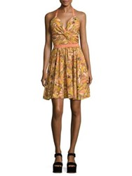 Prose And Poetry Drew Cutout Halter Dress Vintage Poppy Coral Brulee