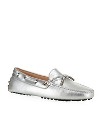 Tod's Laced Gommino Driving Shoe Female Silver