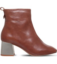 Kg By Kurt Geiger Snoopy Metal Block Heel Leather Boots Tan