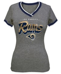 5Th And Ocean Women's Los Angeles Rams Colorblock V T Shirt Gray Blue