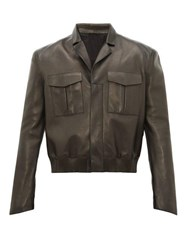 Fendi Logo Debossed Cuban Collar Leather Jacket Black