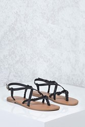 Forever 21 Braided Thong Sandals Black