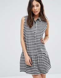 Unique 21 Button Front Checked Cotton Dress With Peter Pan Collar And Pep Hem White Check