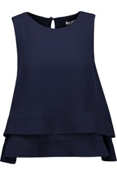 Rebecca Minkoff Marie Open Back Layered Ruffled Silk Blouse Midnight Blue