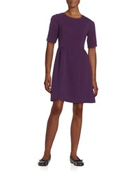 Vince Camuto Short Sleeve Fit And Flare Dress Purple