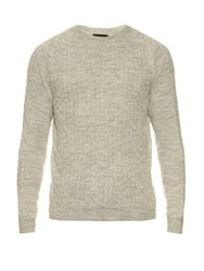 Lanvin Cable Knit Wool Sweater Light Grey