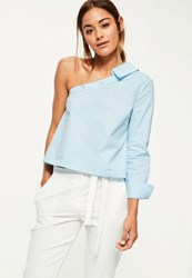 Missguided Blue One Sleeve Deconstructed Blouse