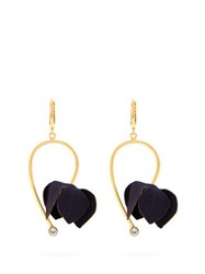 Marni Flora Fabric And Strass Earrings Navy