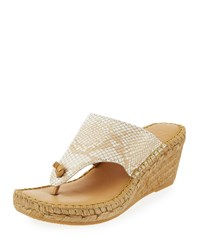 Andre Assous Alyssa Snake Print Wedge Sandal Almond Brown