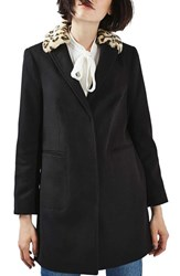 Topshop Women's Faux Fur Collar Boyfriend Coat