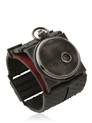 Fob Paris Rehab Python And Leather Cuff Watch Black