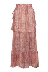 French Connection Malika Sheer Paisley Maxi Skirt Red