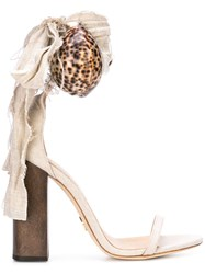 Brother Vellies Shell Aplique Sandals Brown