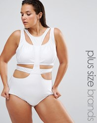 Monif C Curve White Cut Out Swimsuit White