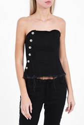 Marques Almeida Women S Denim Strapless Bustier Top Boutique1 Black