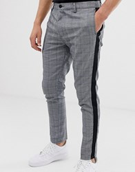 Brave Soul Check Trouser With Taping Black