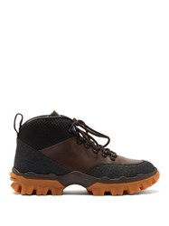 Moncler Hektor Lace Up Leather Boots Brown