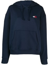 Tommy Jeans Logo Embroidered Hoodie Blue