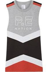 P.E Nation Raserback Printed Color Block Cotton Terry Top Stone