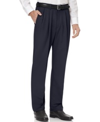 Haggar Big And Tall Cool 18 Pleated Microfiber Dress Pants Navy
