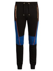 Balmain Biker Stitched Panel Jersey Track Pants Black Multi