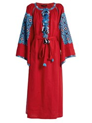 Vita Kin Xoxo Embroidered Linen Tunic Dress Red Multi