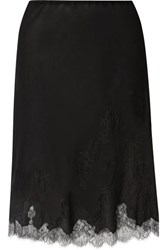 Carine Gilson Chantilly Lace Trimmed Silk Georgette Half Slip Black