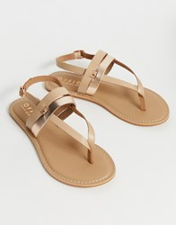 Office Salute Leather Flat Sandals Beige
