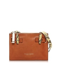 Francesco Biasia Hampstead Color Block Leather Crossbody Bag Brown