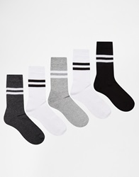 Asos 5 Pack Sports Style Socks With Stripe Multi