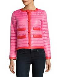 Kate Spade Contrast Trimmed Packable Quilted Jacket Pink