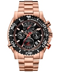 Bulova Men's Chronograph Precisionist Rose Gold Tone Stainless Steel Bracelet Watch 48Mm 98B213