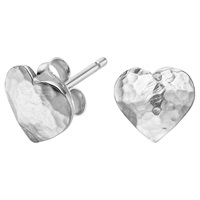 Dower And Hall Sterling Silver Hammered Flat Heart Earrings Silver