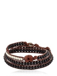 Colana Wooden Skull And Onyx Wrap Bracelet