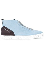 Hogan Lace Up Hi Top Sneakers Women Calf Leather Leather Polyester Rubber 39 Blue