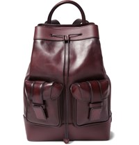 Berluti Horizon Panelled Leather Backpack Burgundy