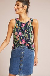 Meadow Rue Cartagena Embroidered Tank Navy