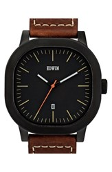 Men's Edwin 'Anderson' Leather Strap Watch 44Mm