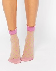 Pretty Polly Pink Spot Sock Pink
