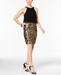 Betsy And Adam Sequined Popover Sheath Dress Black Bronze