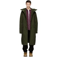 R 13 R13 Green Long Anorak Puffer Jacket