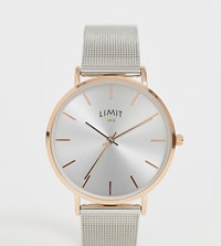 Limit Mesh Watch In Silver With Rose Gold Case