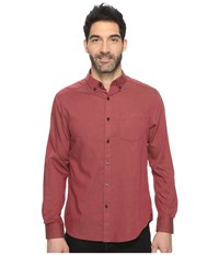 Kenneth Cole Long Sleeve Button Down Collar Solid Flannel Malbec Combo Men's Long Sleeve Button Up Pink
