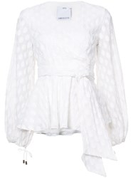 C Meo Collective Belted V Neck Blouse White