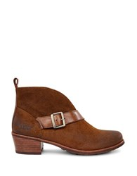 Ugg Wright Belted Suede And Genuine Sheepskin Lined Boots Chestnut Brown
